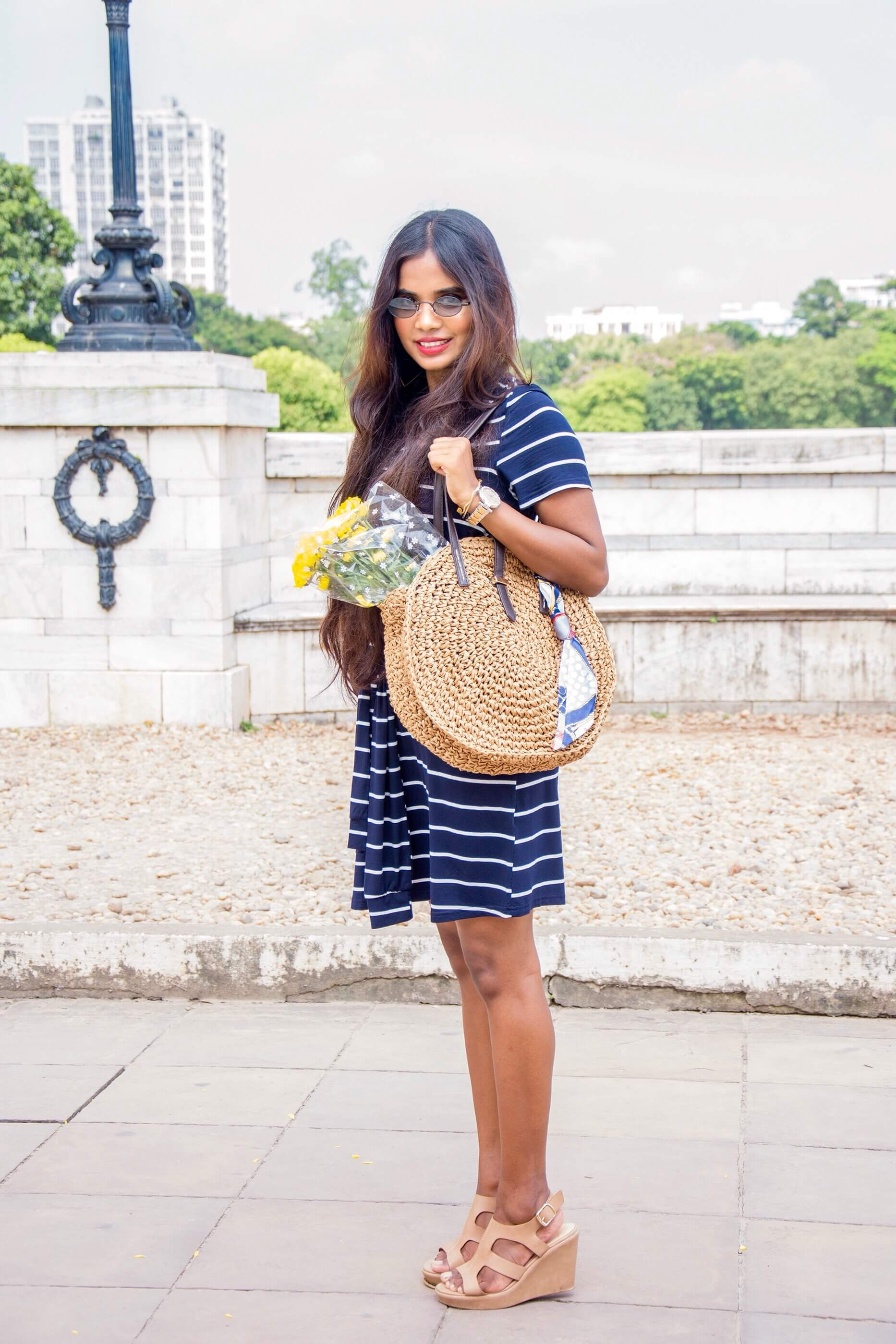 shein knot front striped dress