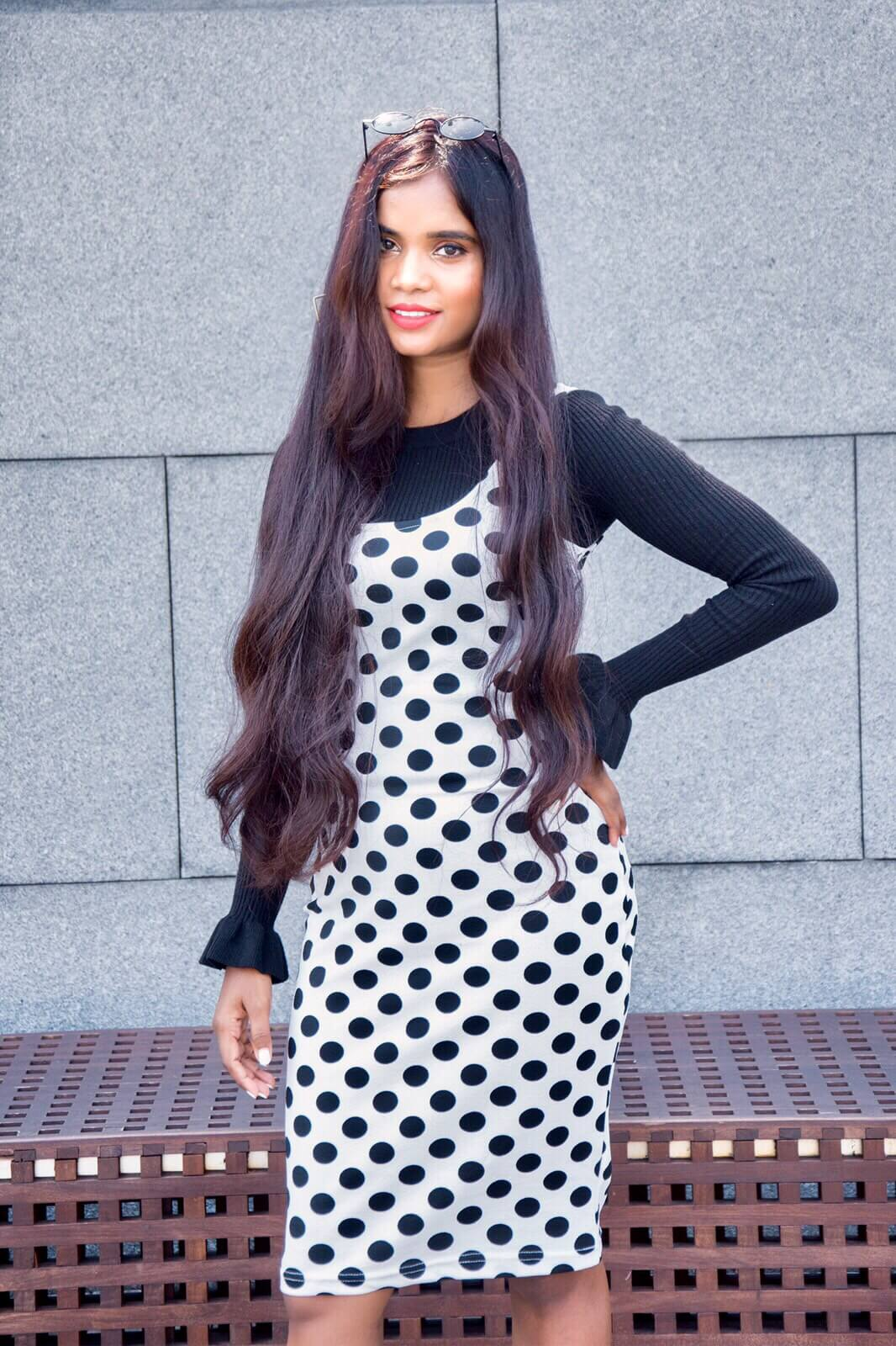 polka dot dress and ruffle blouse