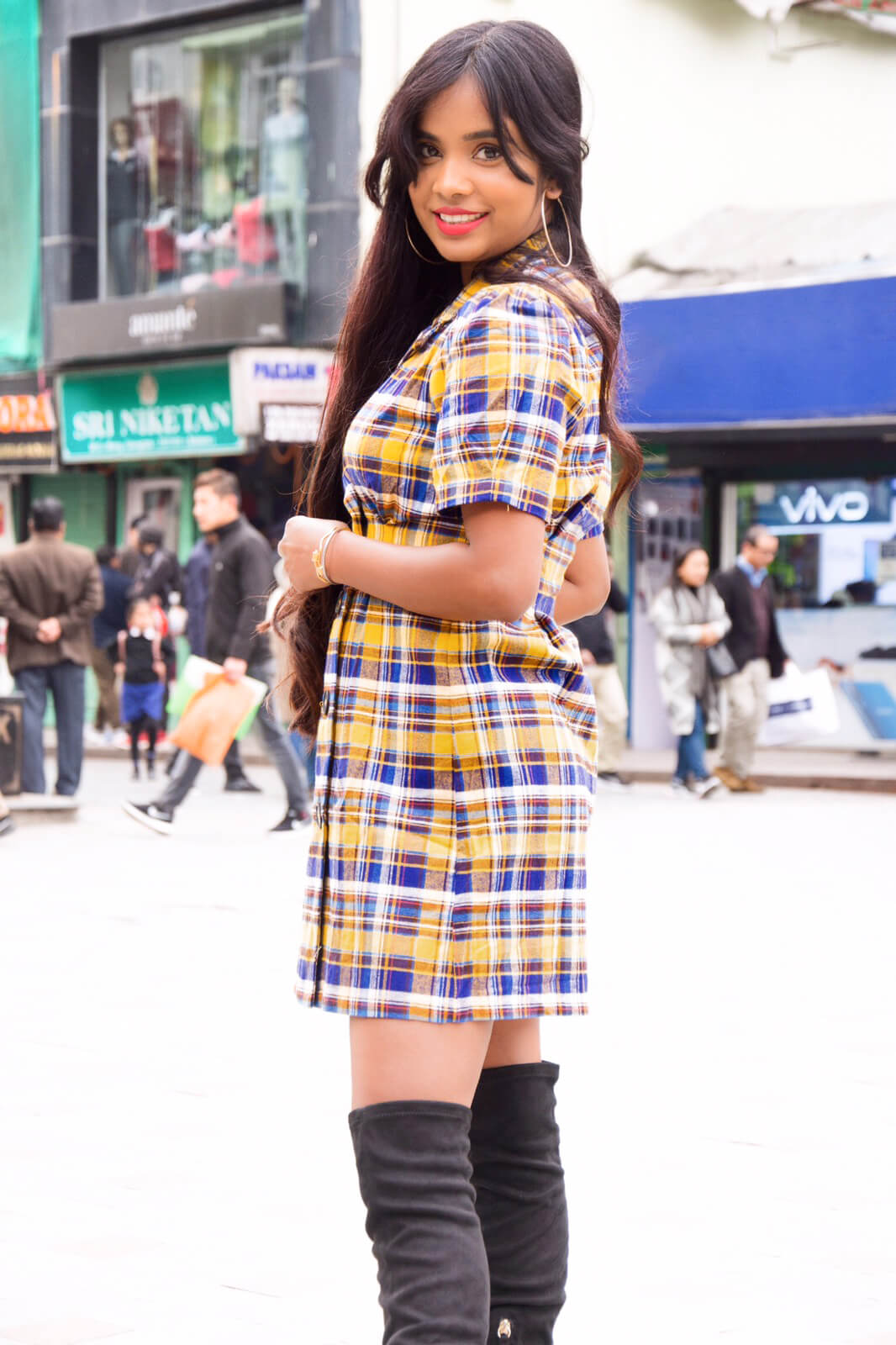plaid dress : winter style