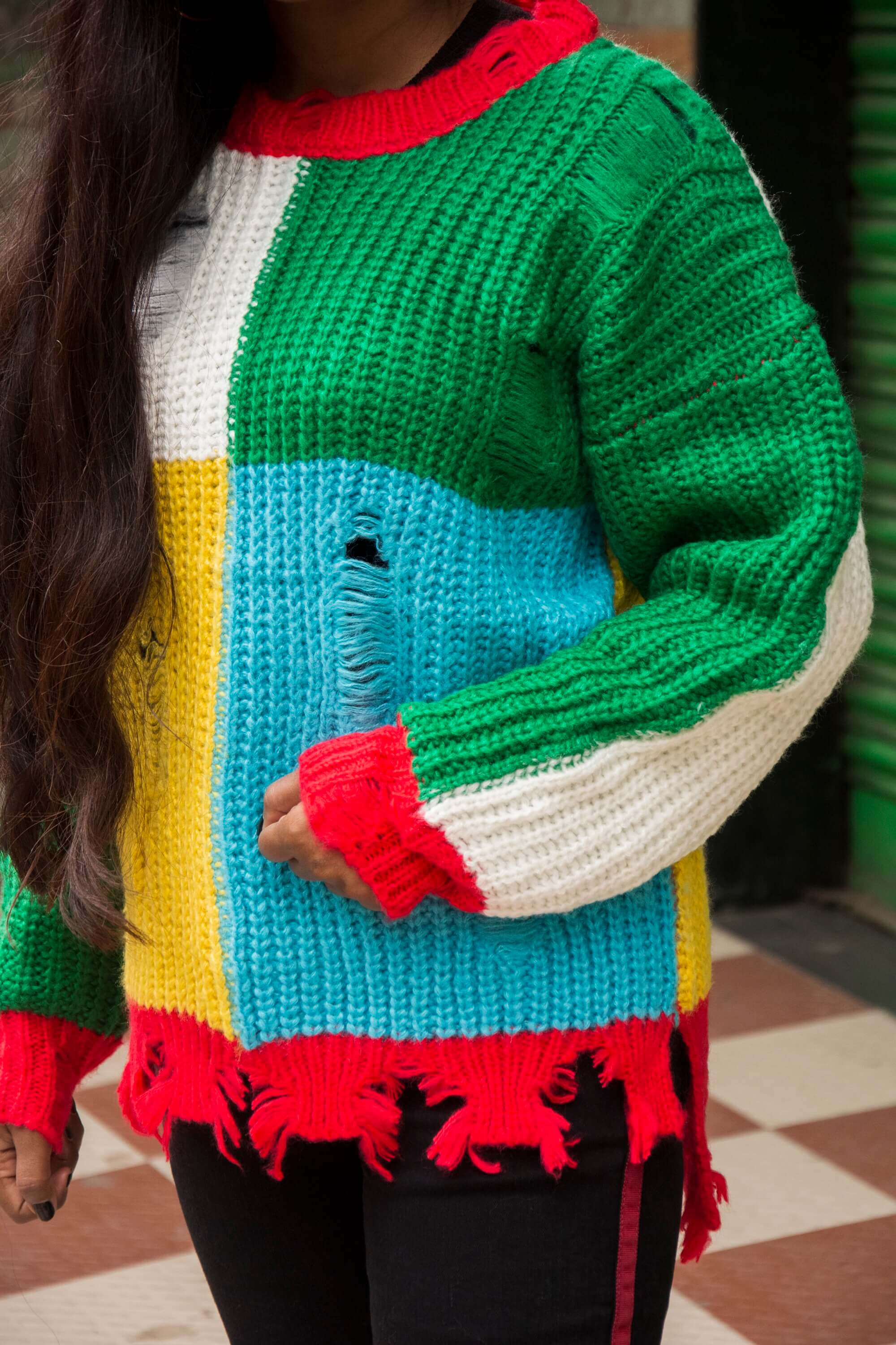 trending side stripe with multicoloured jumper