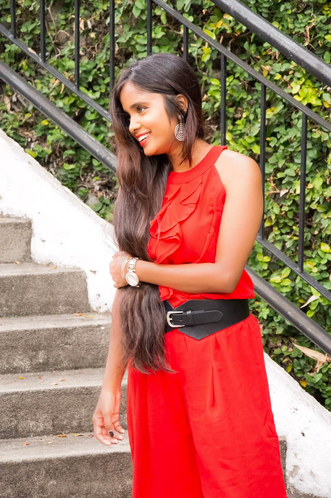 valentines day outfit ideas : girl with long hair wearing red dress