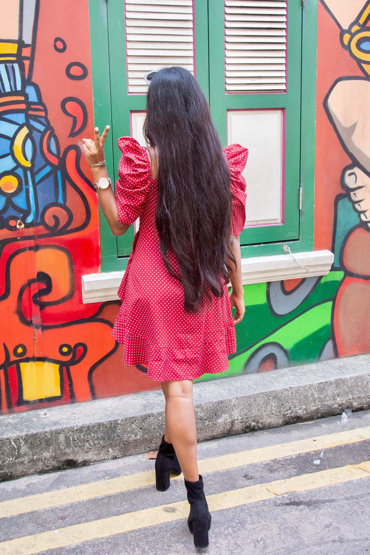 ruffles and polka dots for fall : long hair