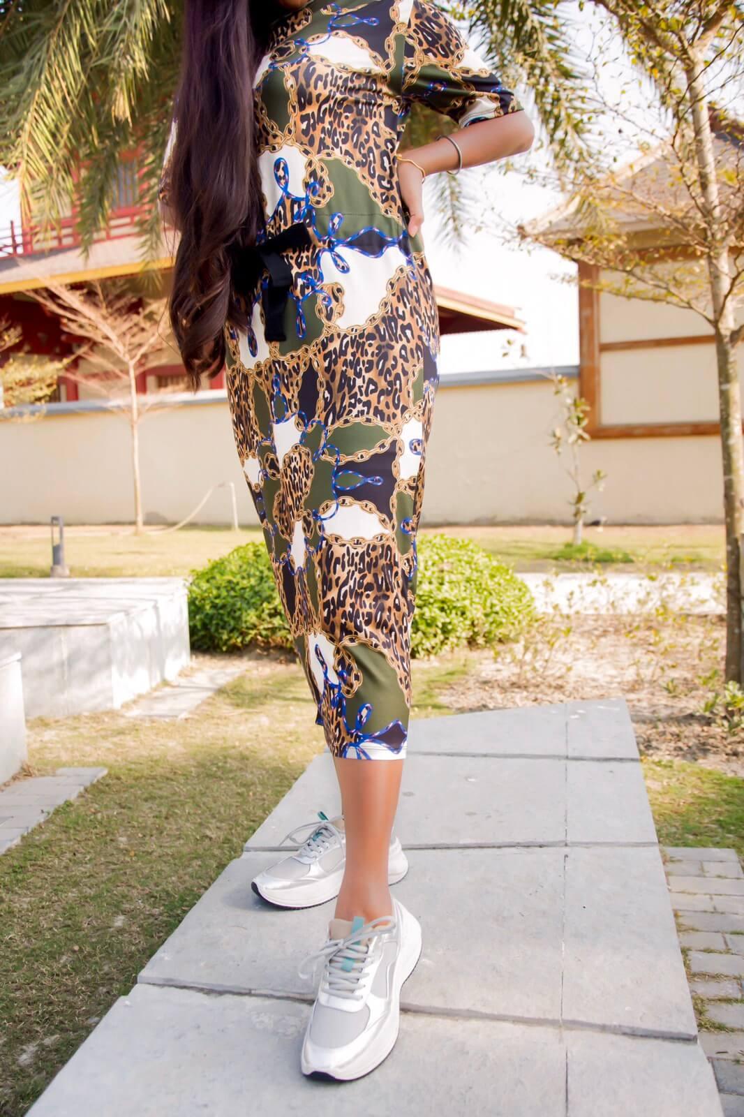 zara chain print dress