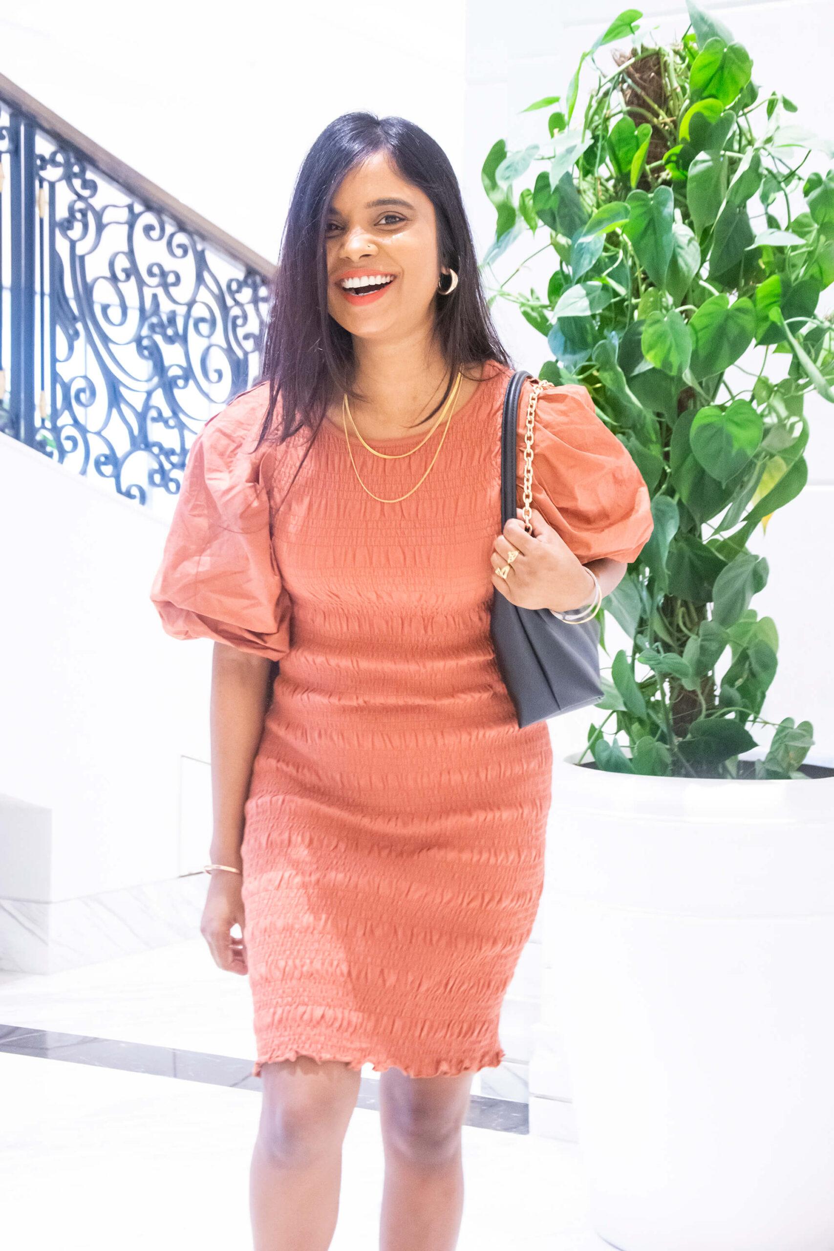 h&m rust orange dress
